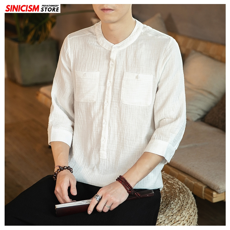 Sinicism Store Chinese Style Stand Collar Shirt Mens Fashion 2020 Summer Casual Mens Shirts Male Oversized Shirt Clothing 5XL