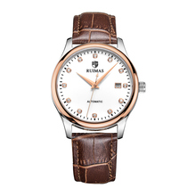 RUIMAS Men Watch 2019 Business Classic Mechanical Automatic Wristwatch Leather Strap Date Display Clock Gifts 6697