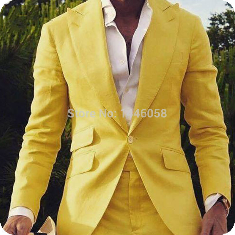 Latest Coat Pant Designs 2019 Yellow Wedding Groom Men Suit One Button Slim Fit Suits Prom Tuxedo Dress Wedding Groomsman Suit