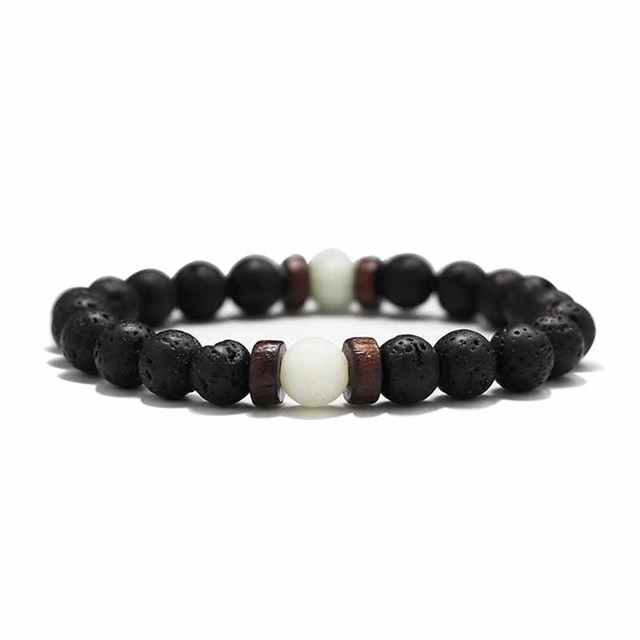 18 Style Natural Stone Bead Bracelet Rock Hip-Hop Rock Street Culture Colorful Stone Man Bracelet Fashion Trendy Men Jewelry