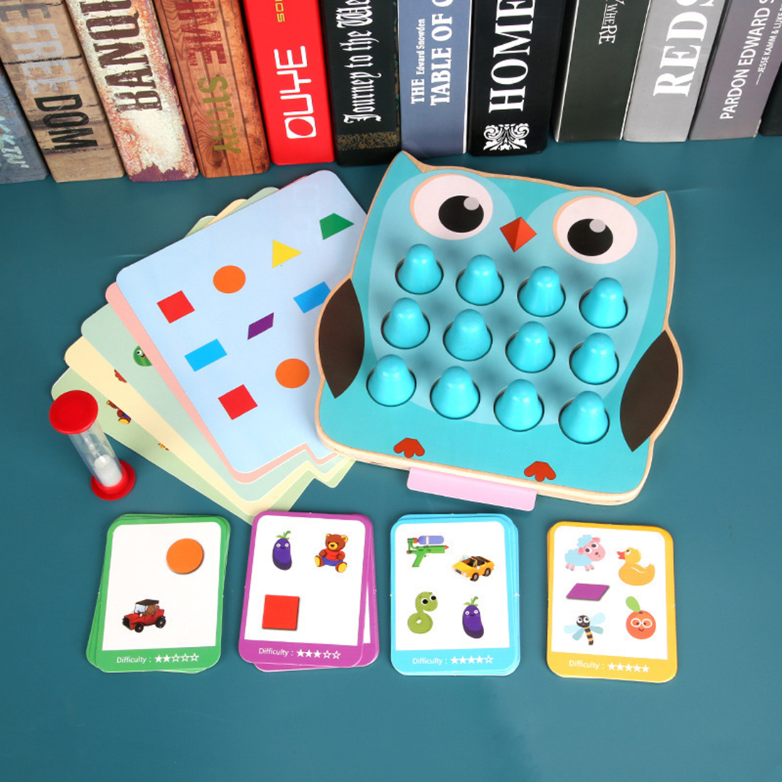 Surwish 2-In-1 Children Memory Detective Game Shape Color Matching Training Toy Wooden Montessori Toys Children Early Education