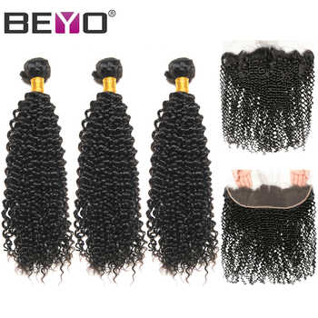 Beyo Peruvian Kinky Curly Bundles With Frontal Human Hair 3 Bundles With Closure 13*4 Lace Frontal Closure With Bundles Non Remy - DISCOUNT ITEM  48% OFF All Category