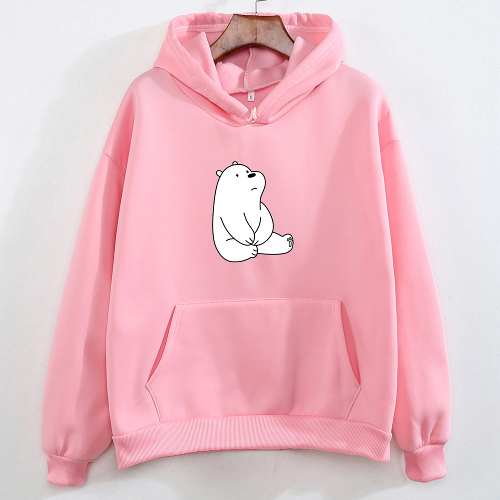 Warm Hooded Jacket For Girls Graphics Hooded K Pop Street Wear Cute Pullover Femininos De Inverno Cartoon Bear Print Sweatshirt