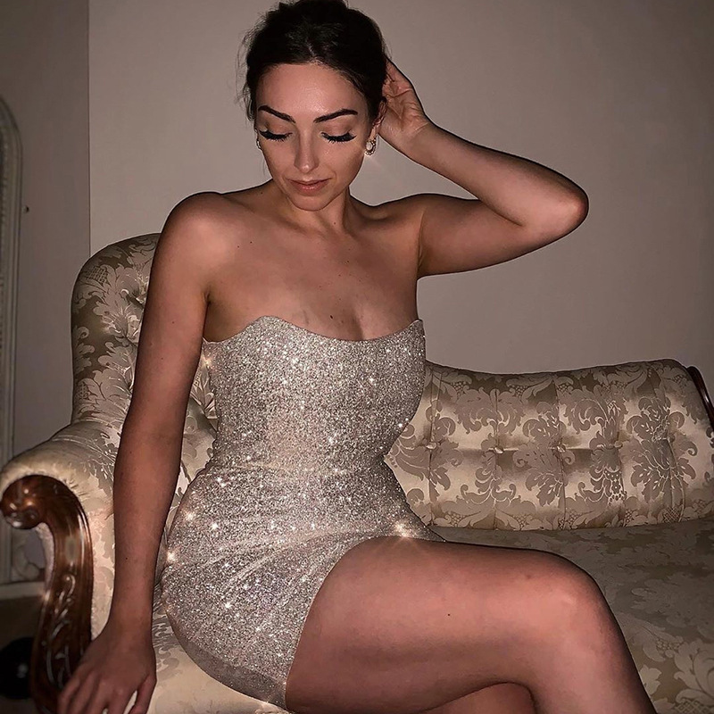 LIJS <font><b>Sexy</b></font> Glitter Short <font><b>Dress</b></font> Women <font><b>Bodycon</b></font> Streetwear Silver Bandage Party <font><b>Dresses</b></font> Strapless Backless Autumn Winter New 2019 image