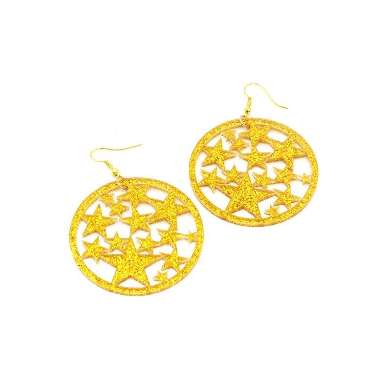 Glitter Acrylic Geometric Hollow Out Star Drop Earrings For Women Night Club Fashion Jewelry
