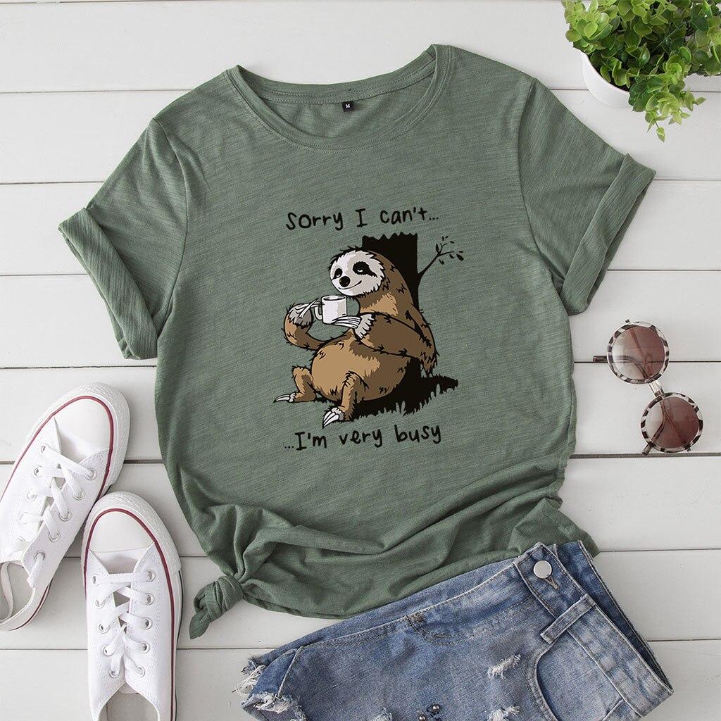 Camiseta feminina verão manga curta algodão plus size S-5XL bonito preguiçoso sloth impressão engraçado casual o pescoço feminino camiseta t navio da gota