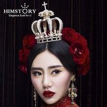 Himstory Baroque Royal Cross Pearl Big Crown Retro European Rhinestone Bridal Tiara Quinceanera Pageant Wedding Hair Accessories