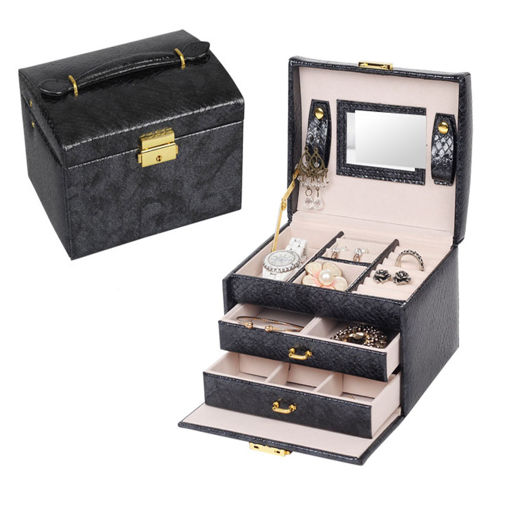 3 Layers Travel Jewelry Organizer, PU Leather Jewelry Box Lockable Storage Display Case With Mirror For Girls Women Gift