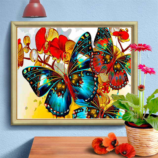 HUACAN Diy Diamond Painting Cross Stitch Butterfly Diamond Embroidery Animal Decorations For Home Wall Stickers