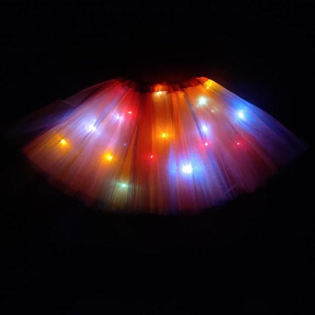 2020 new year Gradation Light LED Kids Coloured lights Tutu Skirt Princess Party Tutus Tulle  Child Ballet Dance skirt Rainbow 3