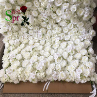 SPR roll up wedding flower wall stage backdrop articial flowers baby pink flower mat for wedding flower wall