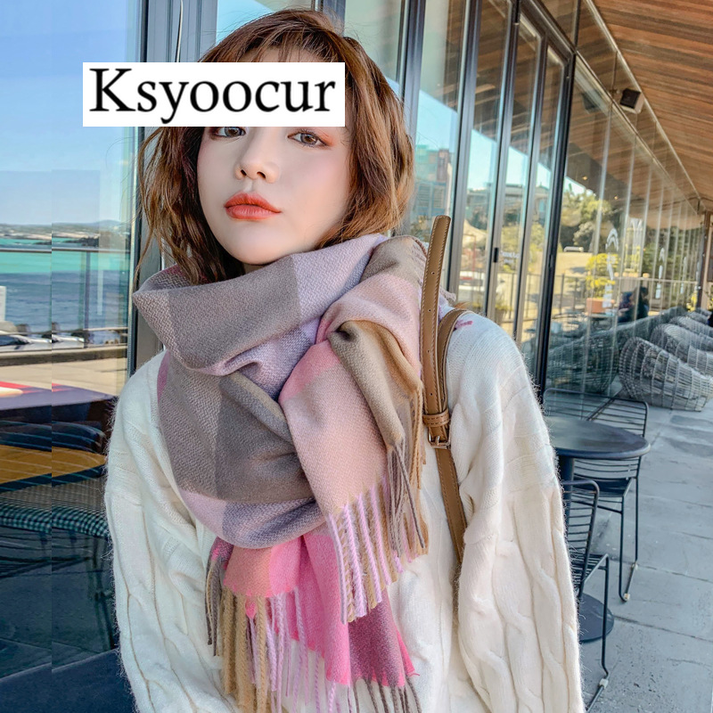 Size  200*70CM, 2020 New Autumn/Winter Long Section Cashmere Fashion Scarf Women Warm Shawls And Scarves Brand Ksyoocur E16
