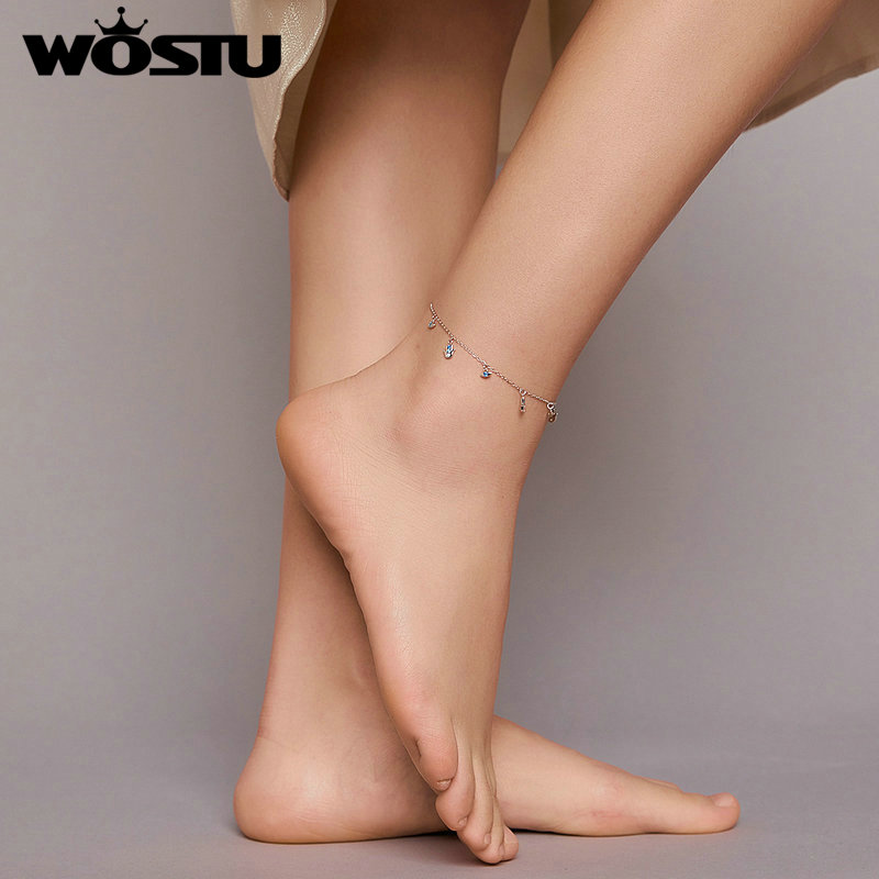 Wostu Anklet 100% 925 Sterling Silver Lucky Blue Eye and Guardian Fatima Hand Silver Anklet for Women Foot Jewelry FNT004