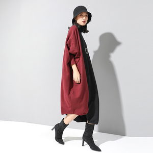 Image 3 - [EAM] Women Knitting Contrast Color Big Size Dress New High Neck Long Sleeve Loose Fit Fashion Tide Spring Autumn 2020 1D674