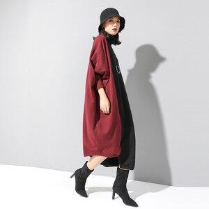 Image 3 - [EAM] فستان حريمي حياكة بألوان متباينة مقاس كبير برقبة عالية وأكمام طويلة وفضفاضة مناسب لربيع وخريف 2020 1D674