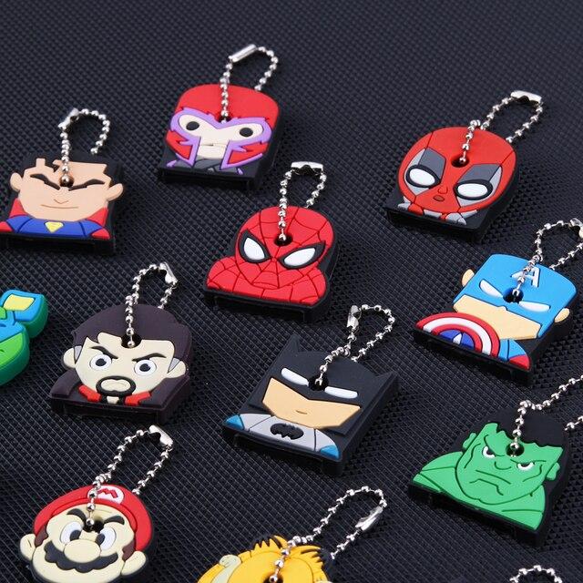 Cartoon Anime Keychain Cute Silicone Batman Spiderman Key Cover Cap Women Gift Iron Man Captain America New Exotic Key Chain 3