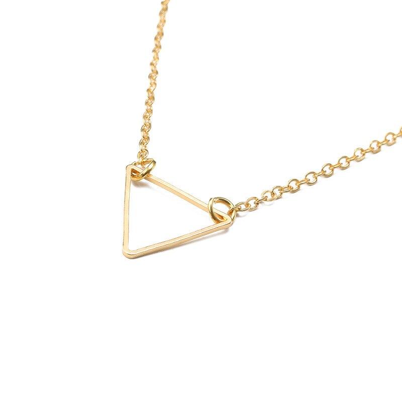 Геометрическая Внешняя торговля хит популярные ювелирные изделия простая Подвеска треугольная ожерелье модный Креативный Свитер с прозра...