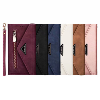 Retro zipper long and short chain lady wallet leather case For Samsung J8 J6 J4 J3 J7 2018 A6 A5 A7 J5 2017 cover case + pen