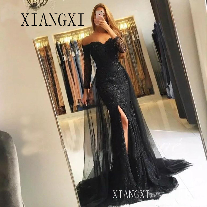 2020 Muslim Evening Dresses 2019 Mermaid 34 Sleeves Lace Beaded Slit Tulle V-Neck Dubai Kaftan Saudi Arabic Long Evening Gown