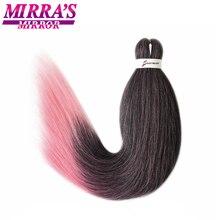 Mirra의 거울 8pcs 블랙 핑크 쉬운 점보 꼰 머리 pre stretched braiding 머리 ombre 합성 머리 확장