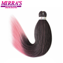 Mirra's Mirror 8pcs Black Pink Easy Jumbo Braid Hair Pre Stretched Braiding Hair Ombre Synthetic Hair Extensions