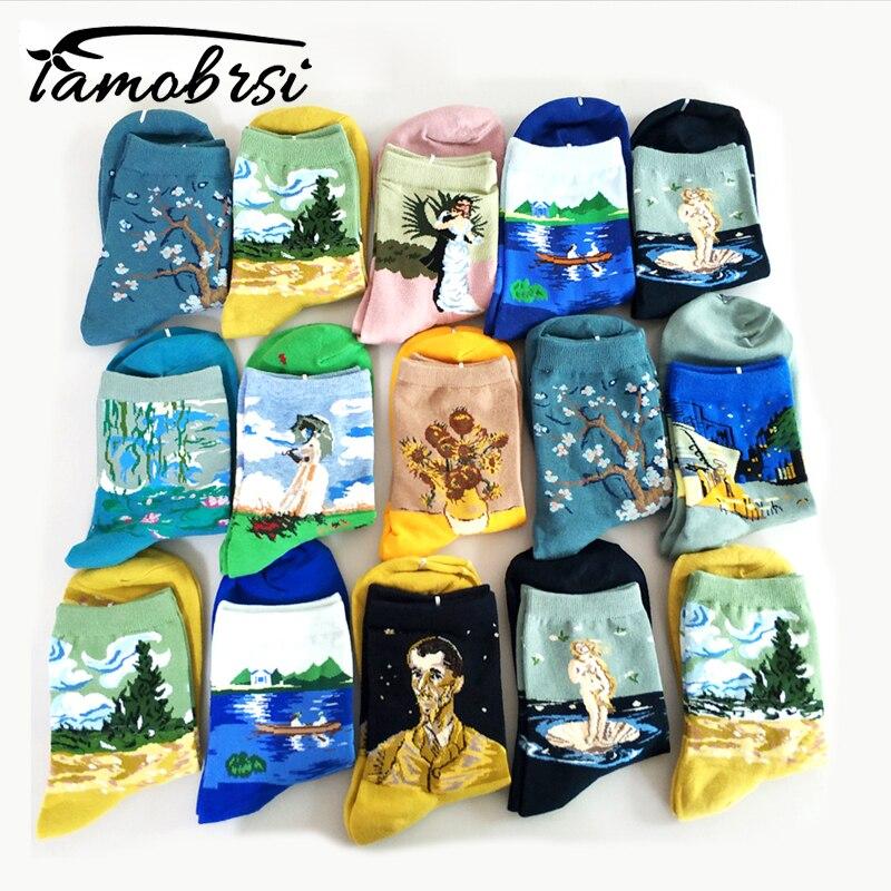 4 Pairs/lot Van Gogh Art Oil Paint Cotton Socks Cartoon Streetwear Kawaii Short Socks Happy Women Warm Funny Cute Socks