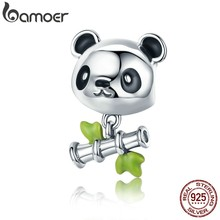 BAMOER prawdziwe 100% 925 srebro piękny bambus i Panda wisiorek z motywami zwierząt fit dziewczyny Charm bransoletka DIY biżuteria dziewczyny prezent SCC325