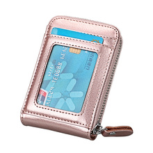 TRASSORY Genuine Leather Rfid Blocking 14 Slots Business Credit ID Card Holder Purse Women Small Security Wallet