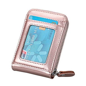 TRASSORY Genuine Leather Rfid Blocking 14 Slots Business Credit ID Card Holder Purse Women Small Security Card Wallet zoress genuine leather women fashion card holder 22 card slots large capacity girls id credit card case bag purse wallet 8 color
