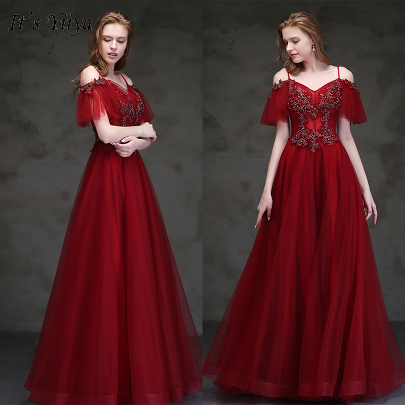 It's Yiiya Evening Dress 2019 Plus Size Burgundy Spaghetti Strap Long Dresses Appliques Embroidery Boat Neck Formal Gowns E1025