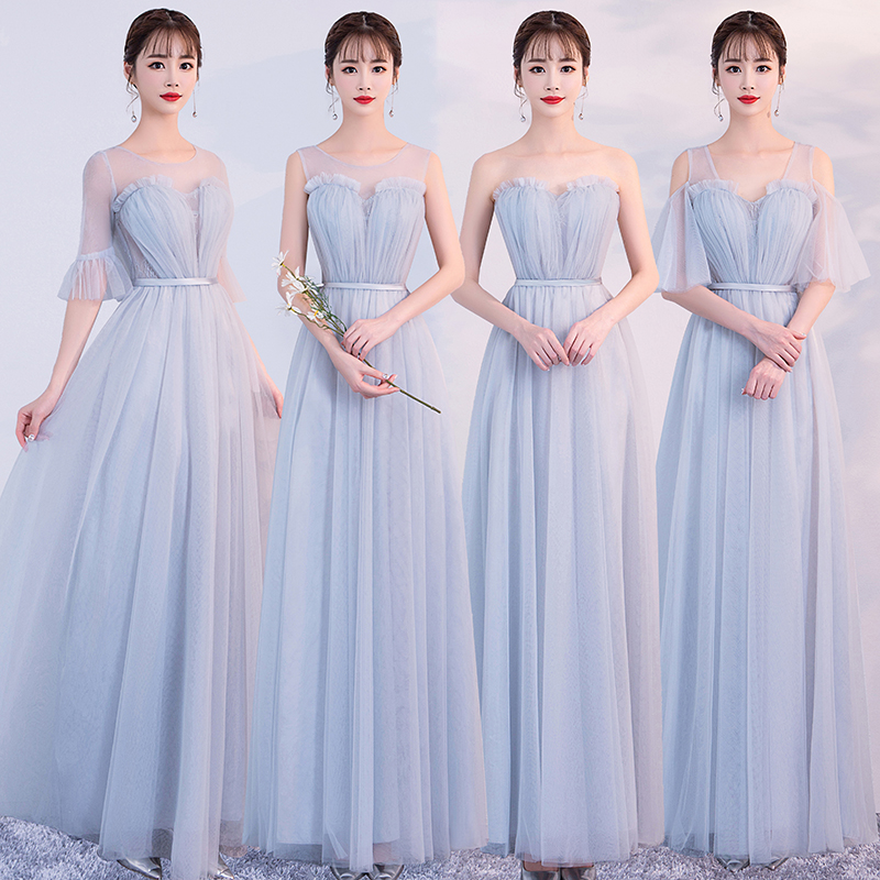 Blue Plus Size Bridesmaid Dress Elegant Guest Wedding Party Sweetheart Club Sister Dress Sexy Prom Floor-Length Simple Vestido