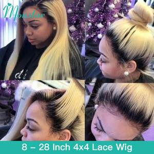 Monstar 4x4 Closure Wig 1B 613 Blonde Ombre Straight Lace Front Human Hair Wigs 28 Inch Peruvian Remy Pre Plucked Wigs for Women
