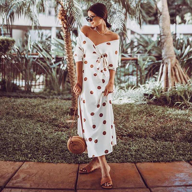 Сексуальное платье-макси с v-образным вырезом, открытыми плечами, на шнуровке, с коротким рукавом, в красный горошек, с принтом, белое платье с поясом, весенне-осеннее платье