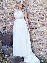 Plus size Wedding Dress Lace Informal Fast shipping Beach Bridal Beaded Chiffon