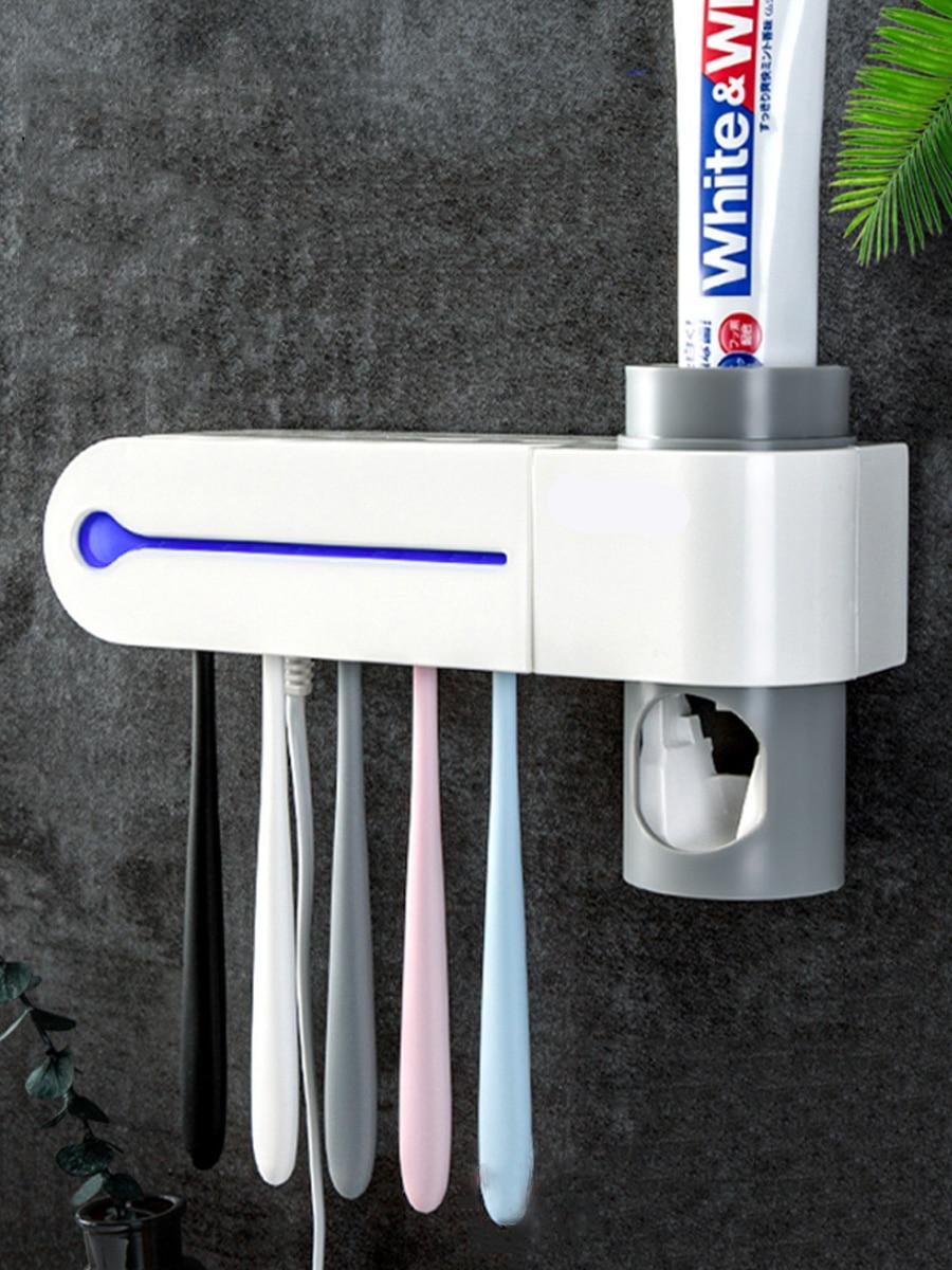Distributeur antibactérien UV brosse à dents | Ensemble daccessoires de salle de bain porte-brosse à dents, stérilisateur dentifrice automatique, distributeur