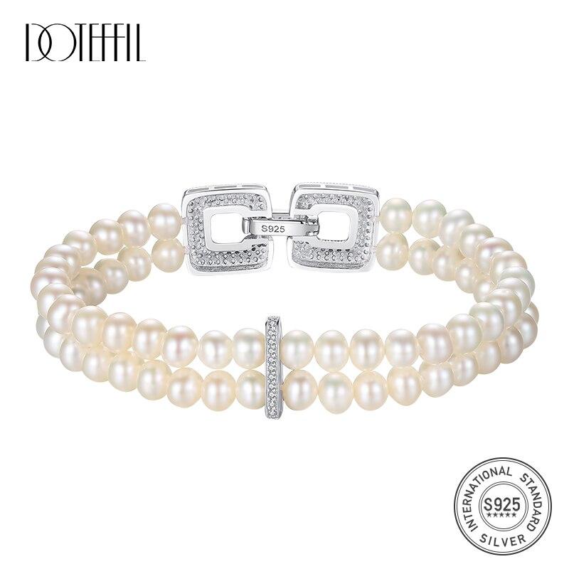 DOTEFFIL véritable naturel perle d'eau douce Bracelets Bracelets pour les femmes 925 argent fermoirs deux Bracelet élasticité bijoux cadeau