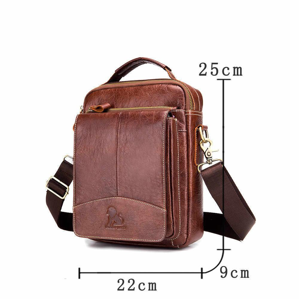 Laoshizi marca de couro genuíno 10' alça superior tote bolsa de ombro crossbody masculino bolsa de couro mensageiro sacos ipad packs