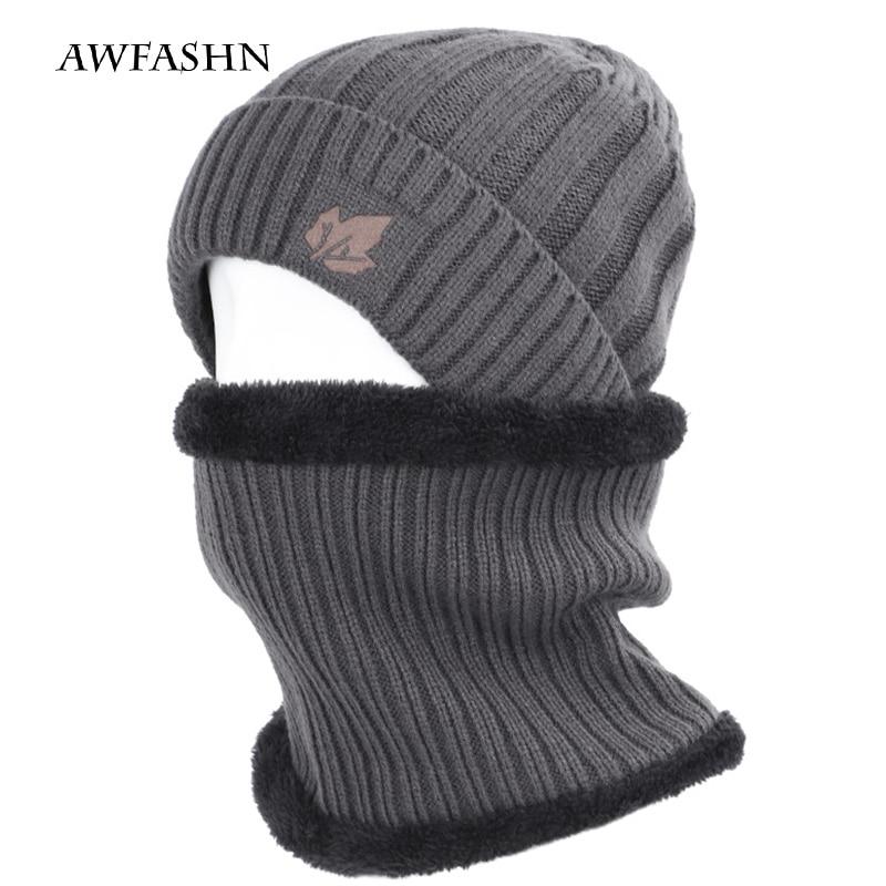 2019  2 Pieces Set Winter Cotton Cap High Quality Men's/women's Plus Velvet Thicken Soft Cap Scarves Warm Loose Winter Cap  Hats