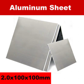 1060 Aluminum Sheet 2.0x100x100mm Aluminum Plate Customized Size DIY Material Laser Cutting CNC Frame Metal Board With Membrane 5 100 100mm beryllium bronze sheet plate of c17200 cube2 cb101 toct bpb2 mould material laser cutting nc free shipping