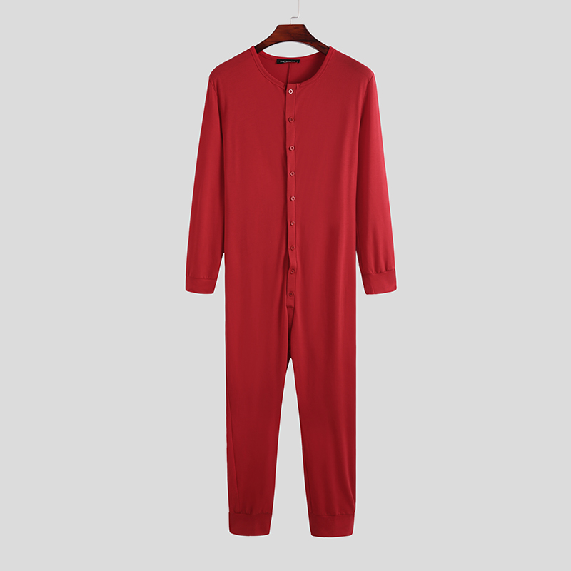 Fashion Men Pajamas Jumpsuit Homewear Solid Color Long Sleeve Comfortable Button Leisure Sleepwear Men Rompers Nightwear S-5XL