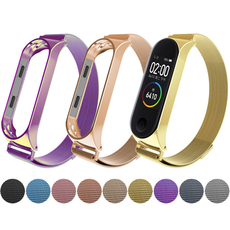 Metal Strap For Xiaomi Mi Band 4 Strap For Xiaomi Miband 3 Bracelet For Miband 3 M3 M4 Metal Screwless Stainless Steel Strap