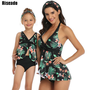 Riseado Tropical Tankini High Waist Swim Wear Halter Swimsuit Mother and Daughter Bikini 2020 Knotted Beachwear Backless Biquini цена 2017