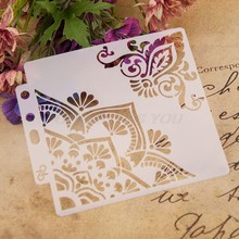 Bloem Hoek Stencils Template Schilderen Scrapbooking Embossing Stempelen Album Card DIY(China)