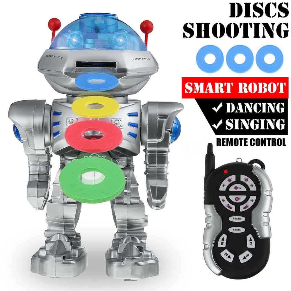 Dancing Battery Operated Gift Kids Children Singing Remote Control Shoots Discs Educational Toy Walking Talking RC Robot Funny