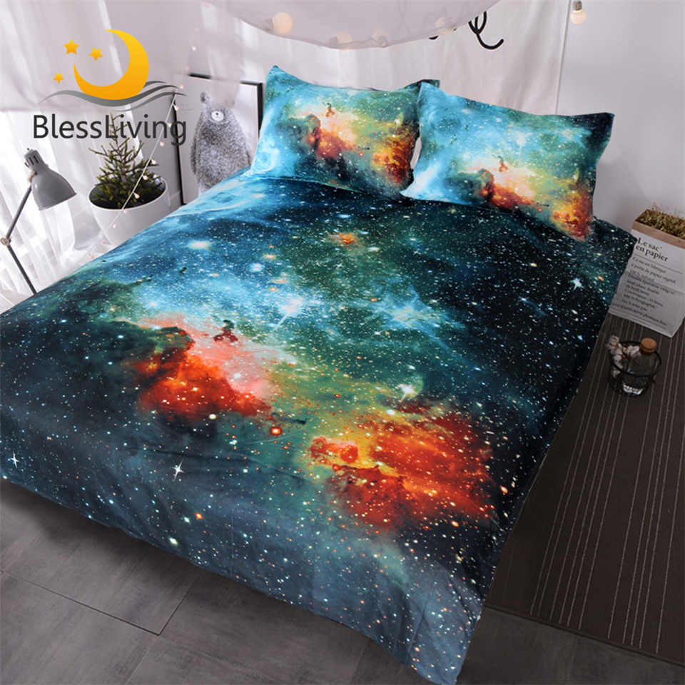 BlessLiving Galaxy Bed Cover Outer Space Bedding Sets King Red Green Nebula Duvet Cover Universe Luxury Psychedelic Bed Set 3pcs