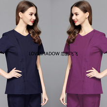 Scrub Set Women Zipper Medical Spa Uniform Pure Cotton Short Sleeve Doctor Nurse Clothing Side Opening Front Top and Scrub Pants