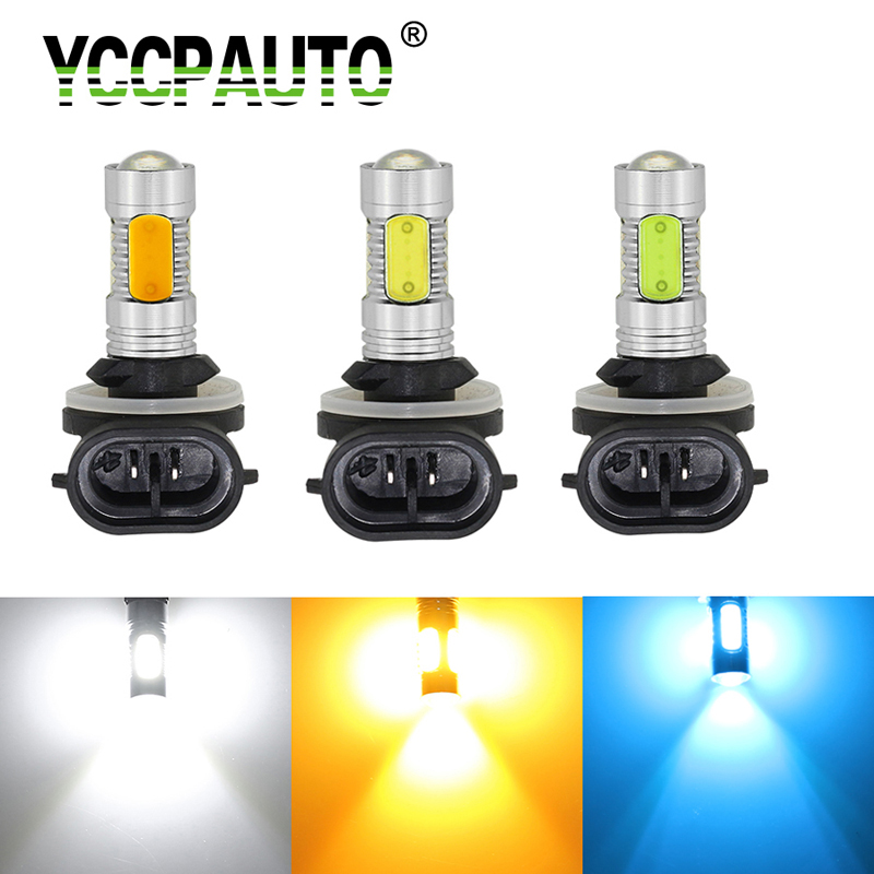 YCCPAUTO 1Pc H27 881 H27W2 Car LED Fog Light H27W/2 COB 7.5W Bulb White Yellow Auto LED Driving Fog Lamp DRL 12V