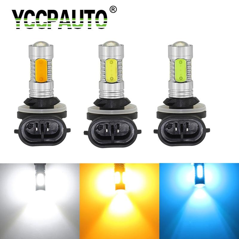YCCPAUTO 1 шт. H27 881 H27W2 Автомобильный светодиодный противотуманный светильник H27W/2 COB 7,5 Вт лампа белого и желтого цвета Автомобильный светодиодны...
