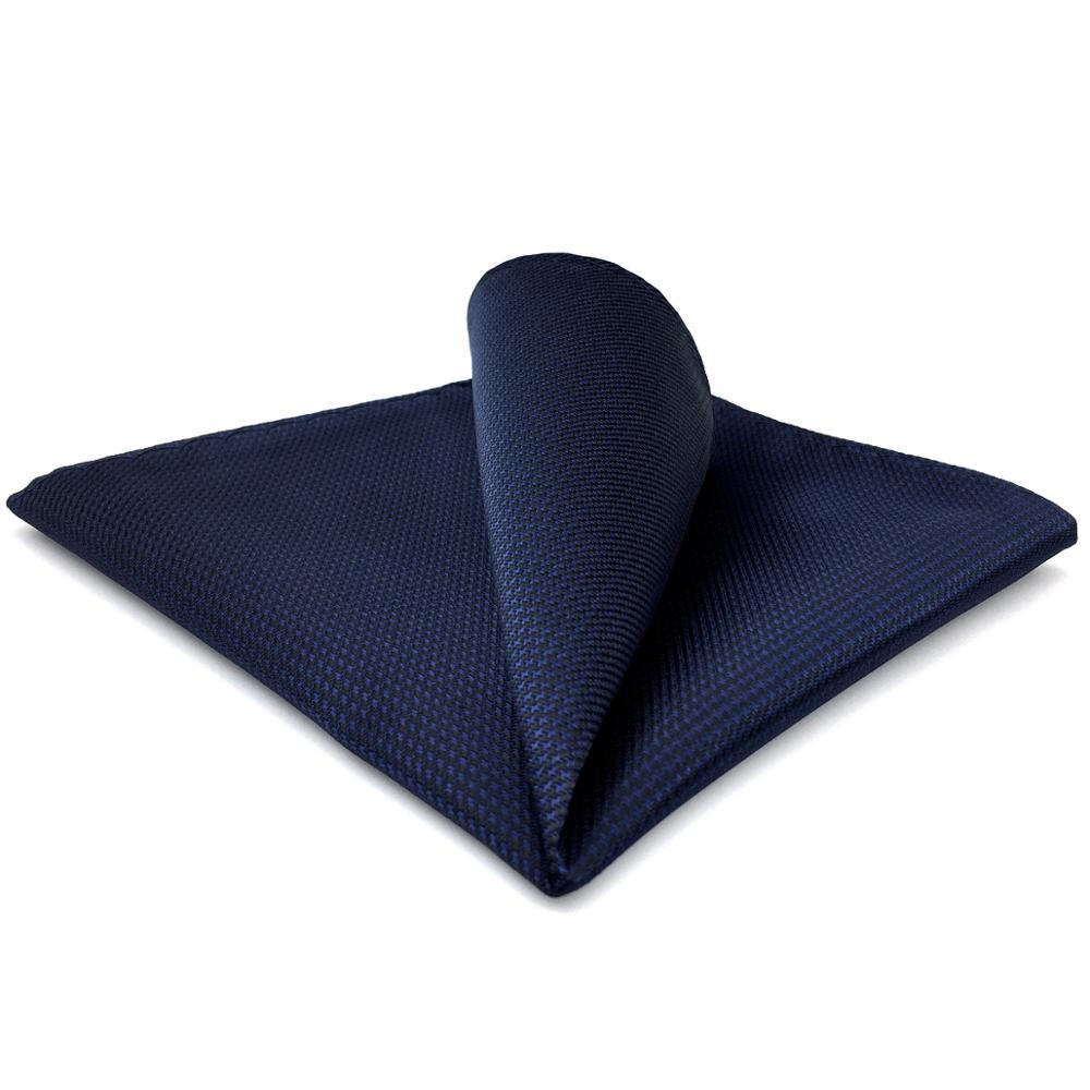 YH25 Navy Solid Handmade Classic Handkerchief Pocket Square Handkerchief Silk