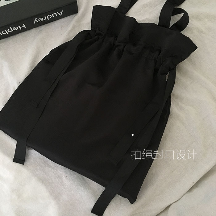Dark Black Personality Simple Drawstring Design Wild Satin Shoulder Bag Shopping Bag Japan And South Korea